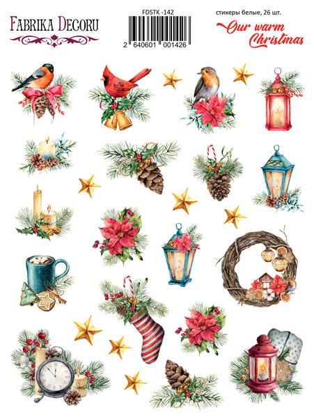 набор наклеек (стикеров) 26 шт our warm christmas #142 для ежедневника, ноутбука, блокнота и альбома купить дешево оптом и в розницу в магазине фабрика декору украина
