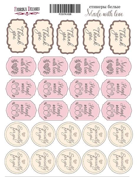набор наклеек (стикеров) 27 шт made with love #028 для ежедневника, ноутбука, блокнота и альбома купить дешево оптом и в розницу в магазине фабрика декору украина