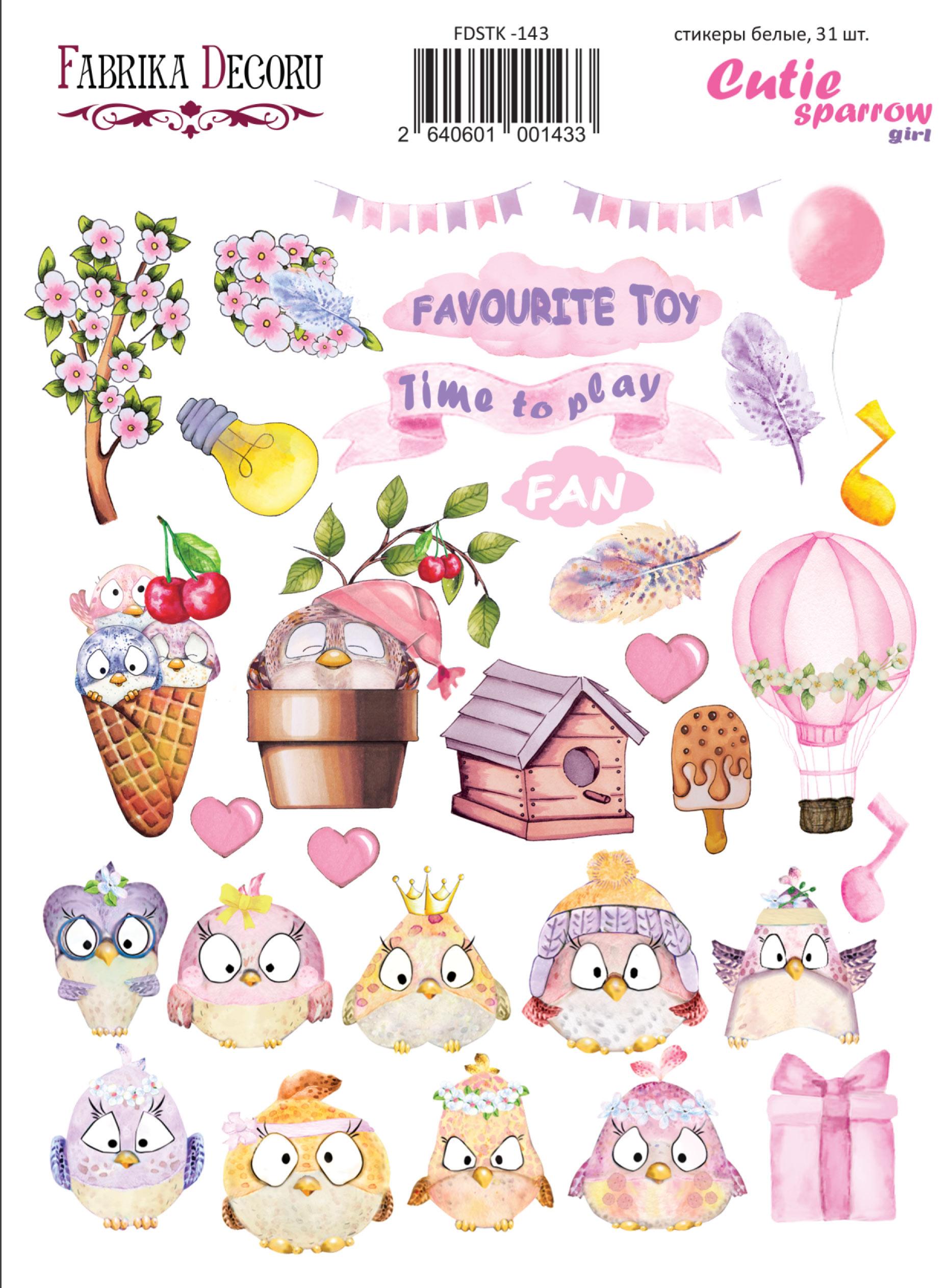 набор наклеек (стикеров) 31 шт cutie sparrow girl #143 для ежедневника, ноутбука, блокнота и альбома купить дешево оптом и в розницу в магазине фабрика декору украина