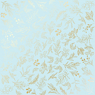 "Sheet of single-sided paper embossed by golden foil ""Golden Branches Blue"""