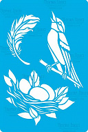 "Stencil for crafts 15x20cm ""Bird and nest"" #316"