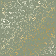 "Sheet of single-sided paper embossed by golden foil ""Golden Branches Olive"""