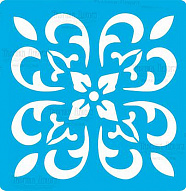 "Stencil for crafts 14x14cm ""Tile of Baroque style 1"" #326"