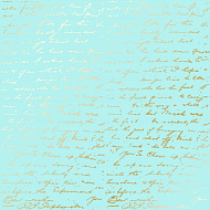 "Sheet of single-sided paper embossed by golden foil ""Golden Text Turquoise"""