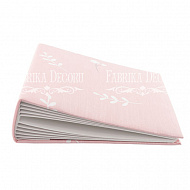 Blank album with a soft fabric cover Sprigs on pink 20сm х 20сm